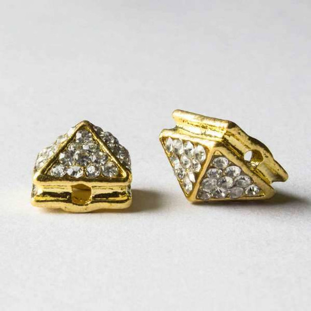 Pave 8x12mm Base Metal Gold Pyramid Spike with Crystals