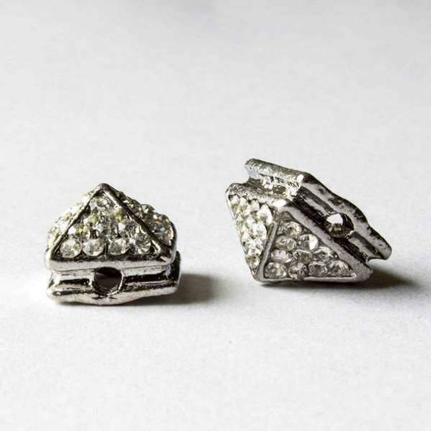 Pave 8x12mm Base Metal Silver Pyramid Spike with Crystals