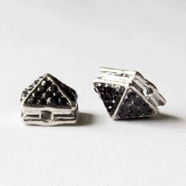 Pave 8x12mm Base Metal Silver Pyramid Spike with Jet Crystals