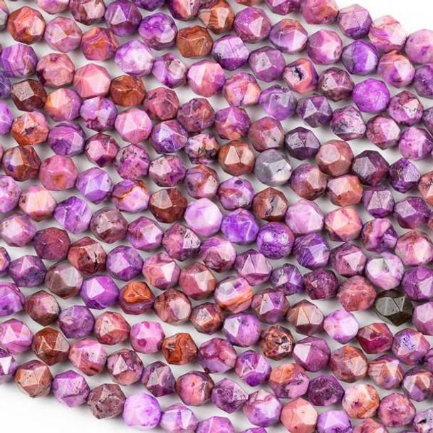 Purple Crazy Lace Agate 6mm Simple Faceted Star Cut Beads - 15 inch strand