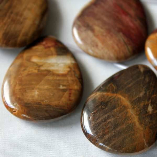 Petrified Wood Jasper 30x40mm Top Drilled Teardrop