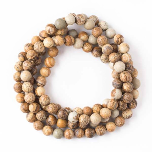 Picture Jasper 8mm Mala Round Beads - 36 inch strand