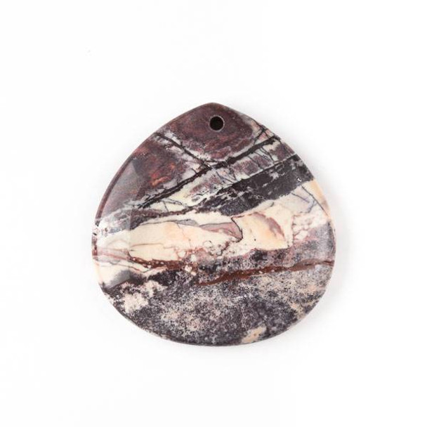 Porcelain Jasper 40mm Top Front to Back Drilled Almond Pendant with a Flat Back - 1 per bag