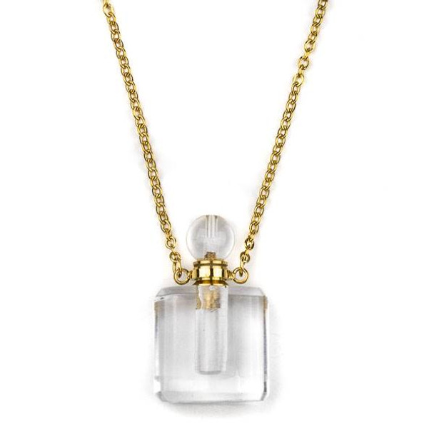 Quartz 19x34mm Rounded Square Perfume Bottle Necklace with Gold Plated Stainless Steel Chain