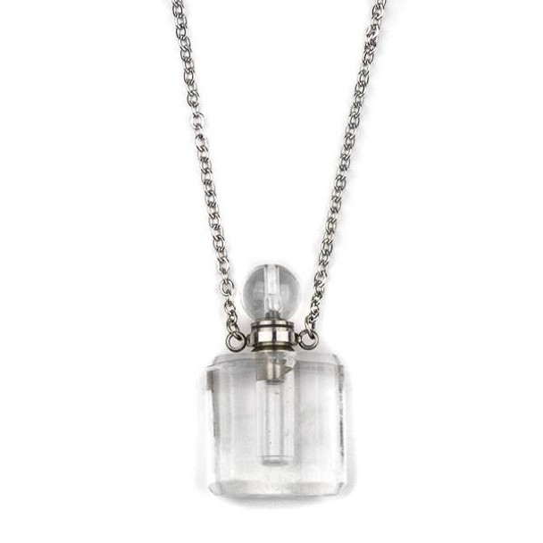 Quartz 19x34mm Rounded Square Perfume Bottle Necklace with Silver Stainless Steel Chain