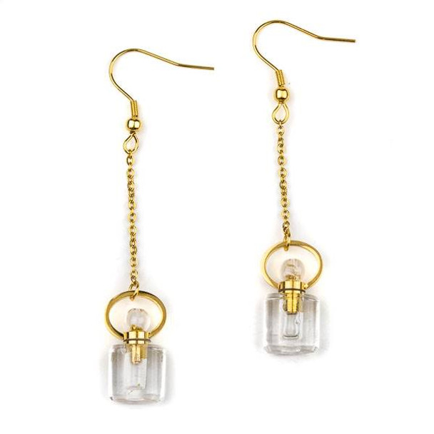 Quartz 11x19mm Rounded Square Perfume Bottle Earrings with Gold Plated Stainless Steel - 1 pair