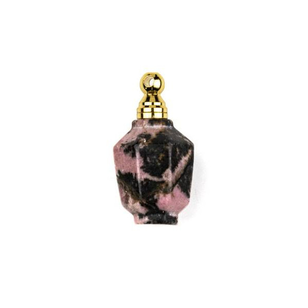 Rhodonite 16x20mm 8-Sided Vase Shaped Perfume Bottle Pendant with Gold Plated Stainless Steel Top #1
