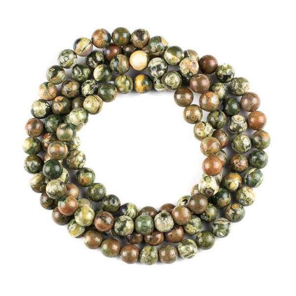 Rhyolite 8mm Mala Round Beads - 36 inch strand