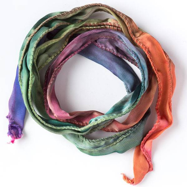 Hand Dyed Double Rainbow Ribbon
