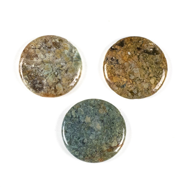 Rainbow Moss Agate 35mm Top Drilled Coin Pendant - 1 per bag