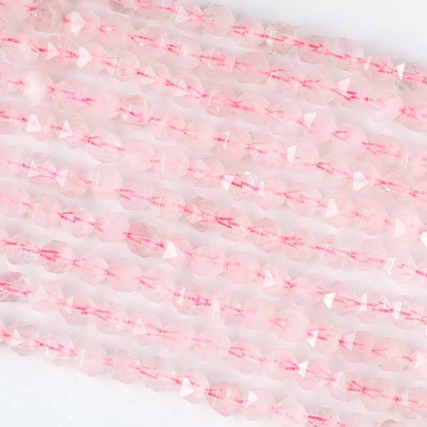 Rose Quartz 6mm Simple Faceted Star Cut Beads - 16 inch strand