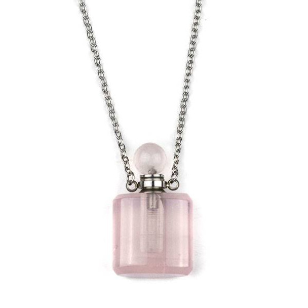 Rose Quartz 19x34mm Rounded Square Perfume Bottle Necklace with Silver Stainless Steel Chain