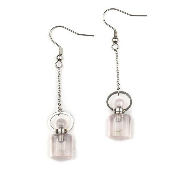Rose Quartz 11x19mm Rounded Square Perfume Bottle Earrings with Silver Stainless Steel - 1 pair