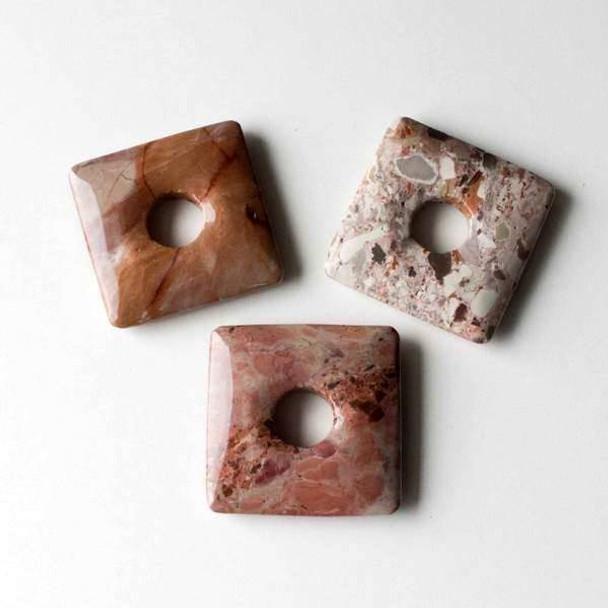 Red Porcelain Jasper 40mm Square Donut Pendant