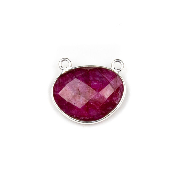Ruby approximately 18x21mm Free Form Oval Drop Pendant with a Silver Plated Brass Bezel - 1 per bag