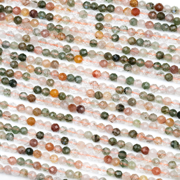 Rutilated Quartz 4mm Faceted Round Beads - 15 inch strand