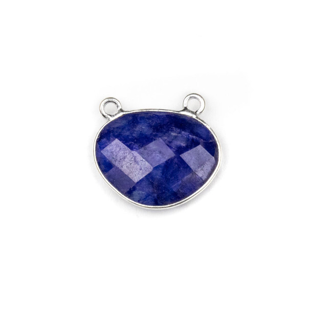 Sapphire approximately 18x21mm Free Form Oval Drop Pendant with a Silver Plated Brass Bezel - 1 per bag