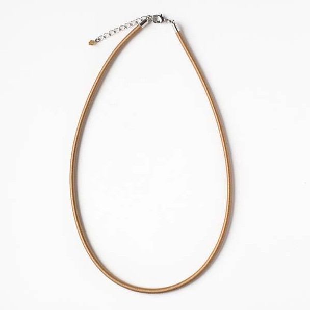 3mm Light Tan Satin Cord Necklace - 17 inches