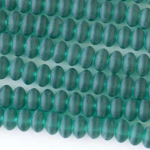 Matte Glass, Sea Glass Style 8mm Peacock Green Rondelle Beads - approx. 8 inch strand