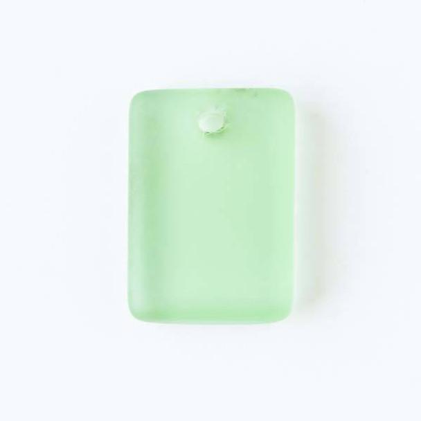 Matte Glass, Sea Glass Style 13x18mm Peridot Green Rectangle Pendants - 8 pendants per bag