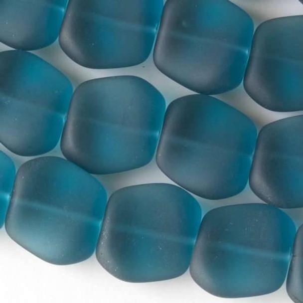 Matte Glass, Sea Glass Style 16x18mm Peacock Blue Square Nuggets - 7.5 inch strand