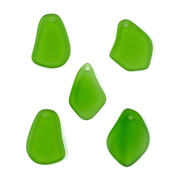 Matte Glass, Sea Glass Style approximately 15x25mm Emerald Green Top Drilled Free Form Pendants - 9 assorted pendants per bag