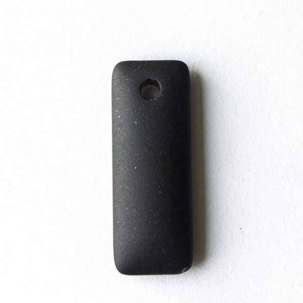 Matte Glass, Sea Glass Style 12x32mm Black Top Drilled Puffed Rectangle Pendants - 8 pendants per bag