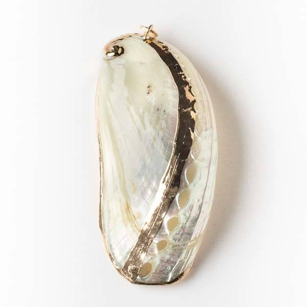 30x68mm White Abalone Shell Pendant with Gold Accents