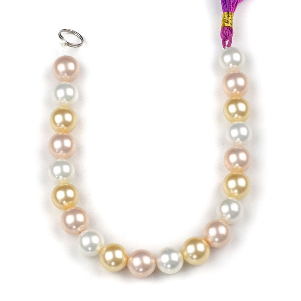 Shell Pearl 10mm Round Beads in a Peony Mix - approx. 8 inch strand