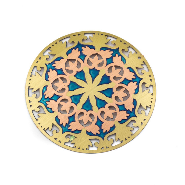 Enameled Brass 46mm Coin Focal/Finding with Blue and Rose Gold - 1 per bag
