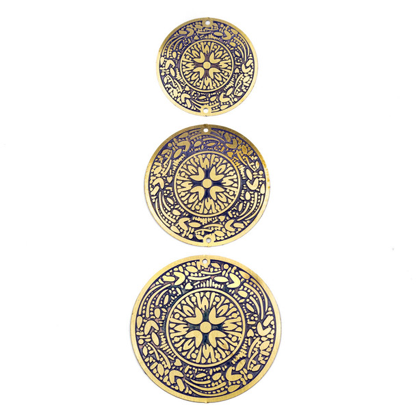 Enameled Brass Coin Focal/Finding Set with Blue Background - 3 pieces per bag