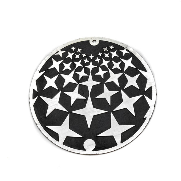 Stainless Steel 46mm Coin Finding with Black Stars - 1 per bag