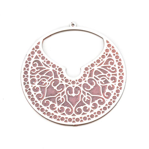 Stainless Steel 46mm Coin Finding with Pink Art Deco Flowers - 1 per bag