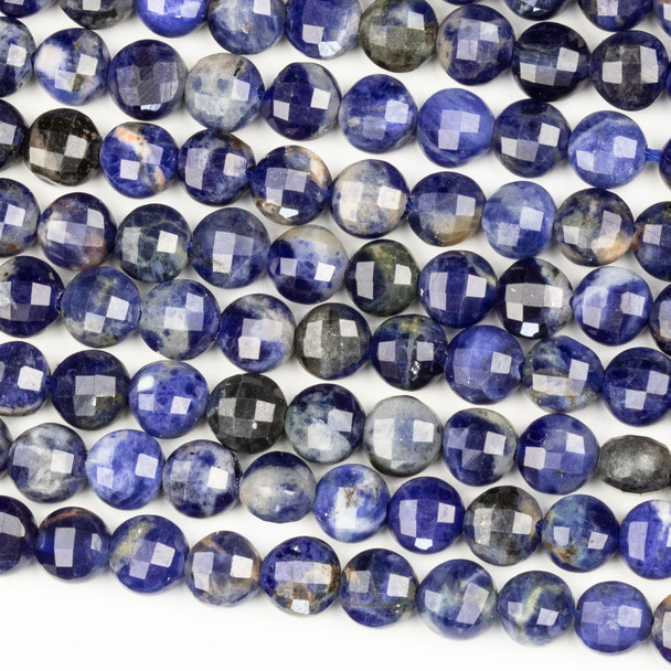 Sodalite 6mm Micro Faceted Coin Beads - 15 inch strand