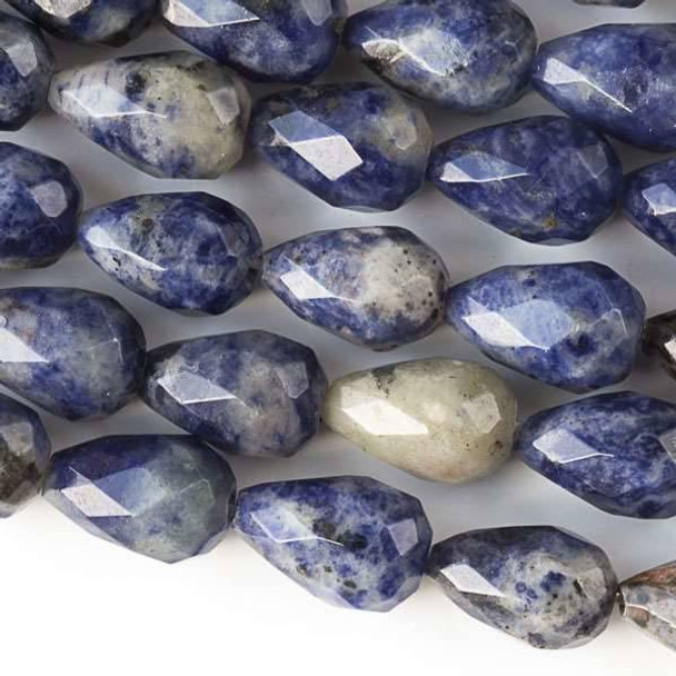 Sodalite Faceted 8x12mm Rounded Teardrop Beads - approx. 8 inch strand, Set B