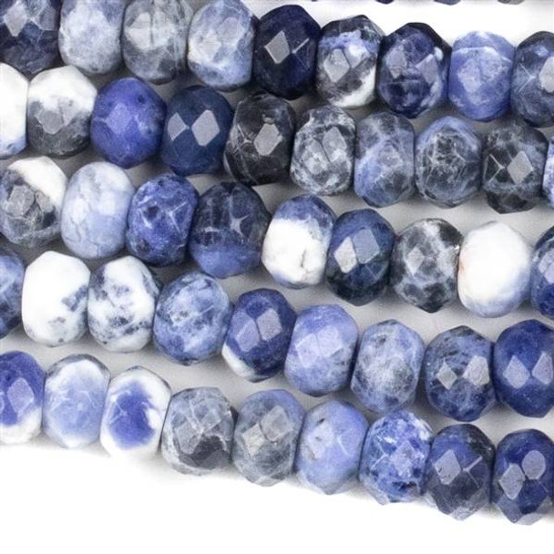 Sodalite Faceted 5x8mm Rondelle Beads - approx. 8 inch strand, Set B