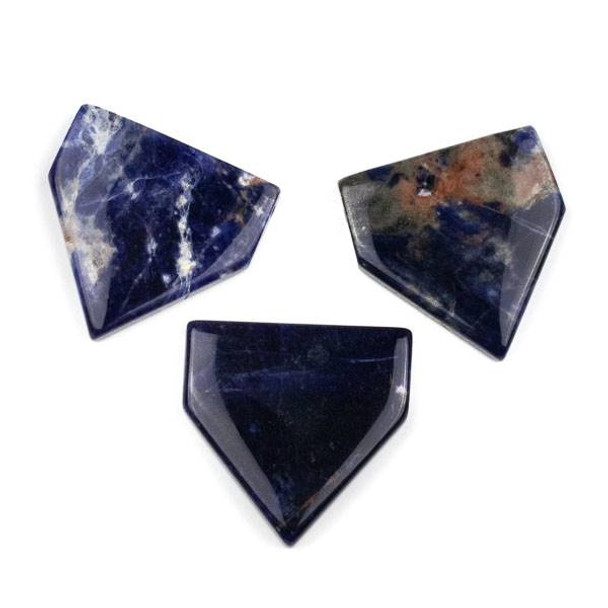 Sodalite 38x40mm Top Drilled Flag Pendant with a Flat Back - 1 per bag