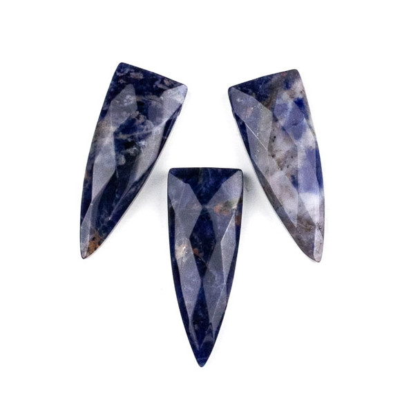 Sodalite 16x42mm Top Drilled Faceted Shield Pendant - 1 per bag
