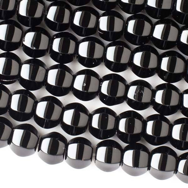 Special Black Agate 12mm Large Cushion Beads - 16 inch strand