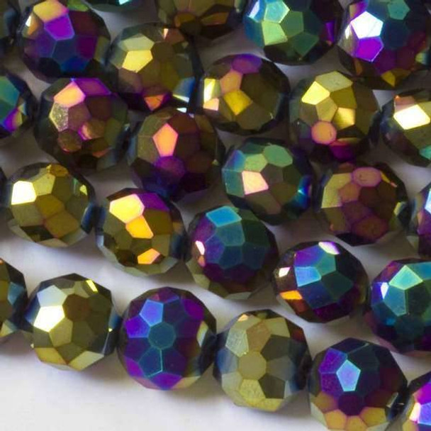 Crystal 10mm Golden Rainbow Coin - 8 Inch Strand