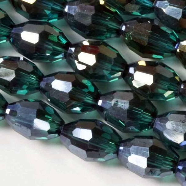 Glass Crystal 8x10mm Emerald Rice with an AB finish