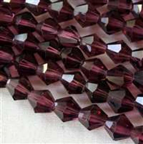 Crystal 6mm Dark Amethyst Bicone - 8 Inch Strand