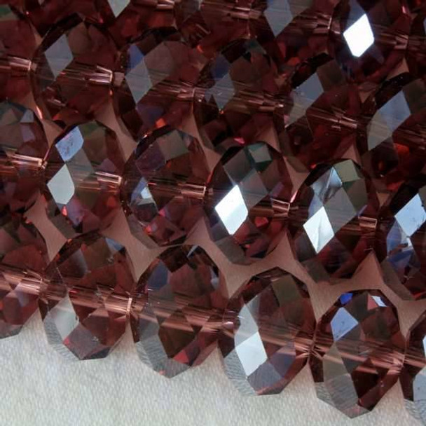 Crystal Faceted 8x12mm Amethyst Rondelle