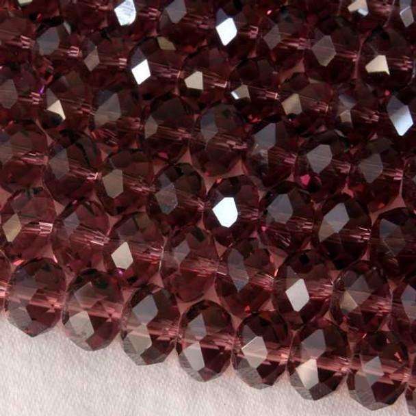 Crystal 6x8mm Amethyst Rondelle