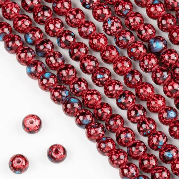 Speckled Glass 6mm Red and Blue Round Beads - 16 inch strand