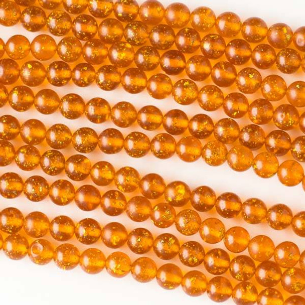 Special Acrylic Imitation Amber with Gold Glitter 6mm Round Beads - 16 inch strand