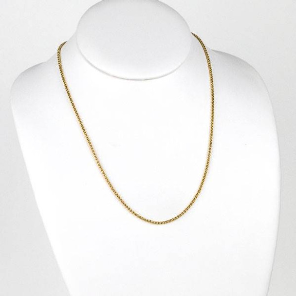 Gold Stainless Steel 2mm Cable Chain Necklace - 20 inch, SS03g-20