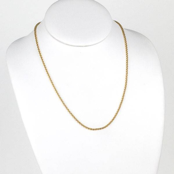 Gold Stainless Steel 2mm Rolo Chain Necklace - 20 inch, SS04g-20