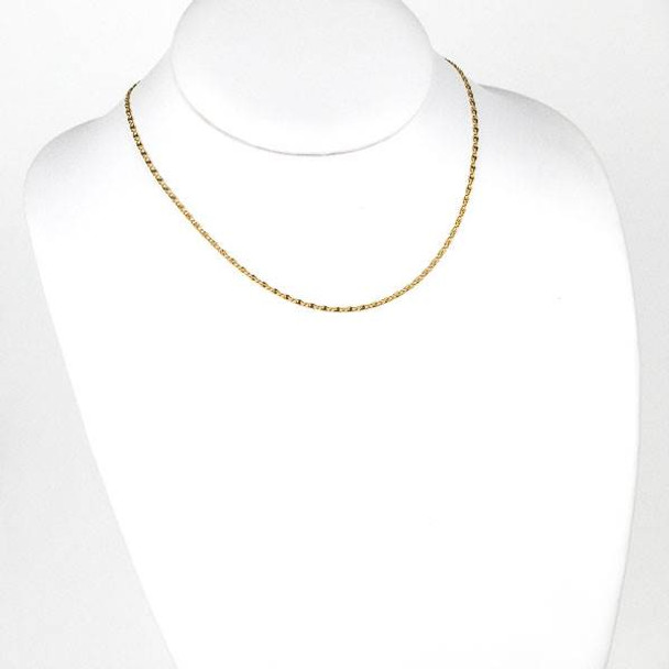 Gold Stainless Steel 2mm Snail Chain Necklace - 16 inch, SS06g-16