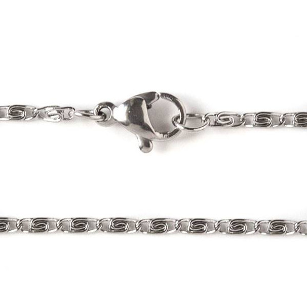 Silver Stainless Steel 2mm Snail Chain Necklace - 24 inch, SS06s-24